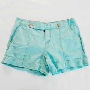 Ann Taylor Loft Turquoise Blue Shorts Linen Size 0